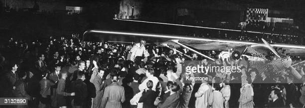 James Stewart stars as Charles Augustus Lindbergh in the 1957 movie 'The Spirit of St Louis' a biopic of the renowned aviator directed by Billy...