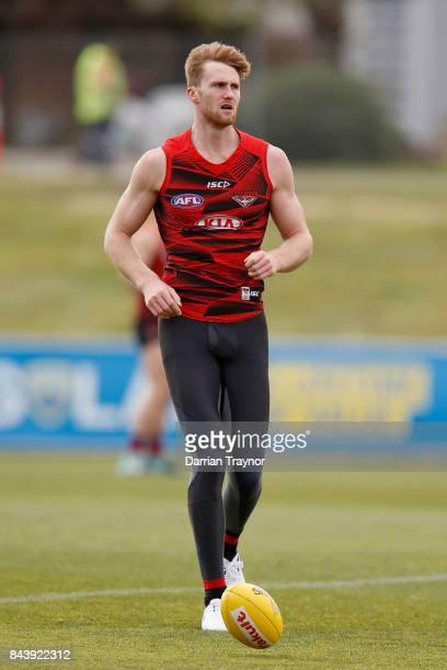 James Stewart takes part during an Essendon Bombers AFL Training Session at the Essendon Football Club on September 8 2017 in Melbourne Australia