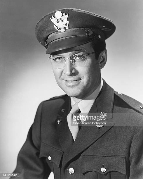 James Stewart US actor wearing spectacles and US Air Force uniform in a publicity portrait issued for the film 'The Glenn Miller Story' 1954 The...