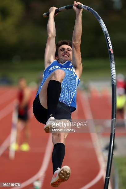 James Steyn from Auckland competes in the Mens Pole Vault during the New Zealand Track Field Championships on March 11 2018 in Hamilton New Zealand