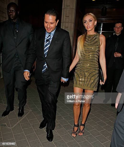 James Stunt and Petra Ecclestone seen leaving The F1 Party on July 2 2014 in London England