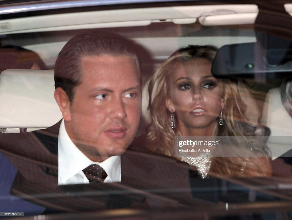 James Stunt (L) and Petra Ecclestone sighted leaving the Hassler Hotel ahead of their wedding celebrations on August 26, 2011 in Rome, Italy.