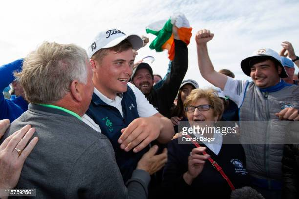 James Sugrue from Ireland celebrates victory in the Amateur Championship Final at Portmarnock Golf Club on June 22 2019 in Portmarnock Ireland