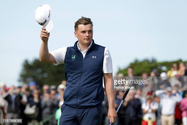 James Sugrue from Ireland wins the Amateur Championship on the 36th green at Portmarnock Golf Club on June 22 2019 in Portmarnock Ireland