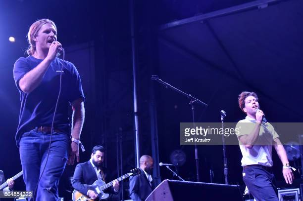 James Sunderland and Brett Hite of Frenship perform during Soul Bugs Superjam The DapKings play The Beatles at Piestewa Stage during day 2 of the...