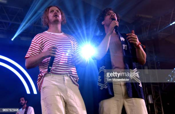 James Sunderland and Brett Hite of Frenship perform during the 2018 Bonnaroo Music Arts Festival on June 7 2018 in Manchester Tennessee