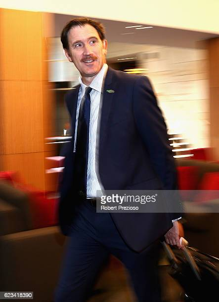 James Sutherland CEO Cricket Australia arrives prior to speaking to the media during a press conference on November 16 2016 in Hobart Australia