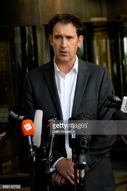 James Sutherland speaks during the Cricket Australia Press Conference at Sandton Towers on March 28 2018 in Johannesburg South Africa