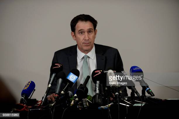 James Sutherland the Cricket Australia CEO during the Australian press conference held at the Holiday Inn in Sandton on March 27 2018 in Johannesburg...