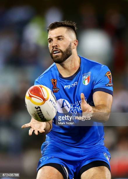 James Tadesco of Italy in action during the 2017 Rugby League World Cup match between Fiji and Italy at Canberra Stadium on November 10 2017 in...