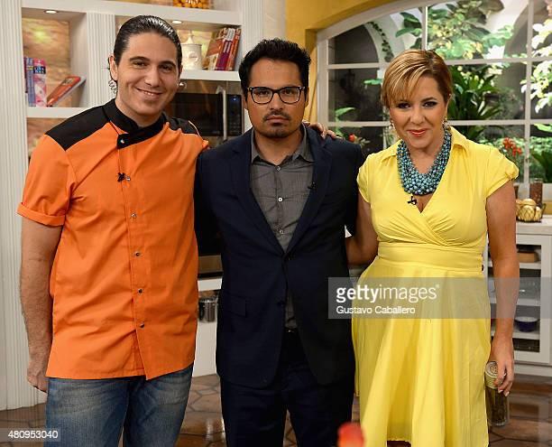 James Tahhan Michael Pena and Ana Maria Canseco on the set of Uno Nuevo Dia to promote AntMan at Telemundo Studio on July 16 2015 in Miami Florida