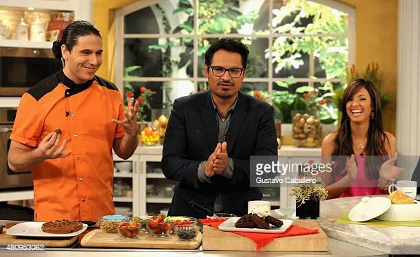 James TahhanMichael Pena and Neida Sandoval on the set of Uno Nuevo Dia to promote AntMan at Telemundo Studio on July 16 2015 in Miami Florida
