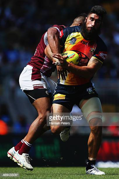 James Tamou of the Cowboys charges forward during the match between the North Queensland Cowboys and the ManlyWarringah Sea Eagles in the Auckland...