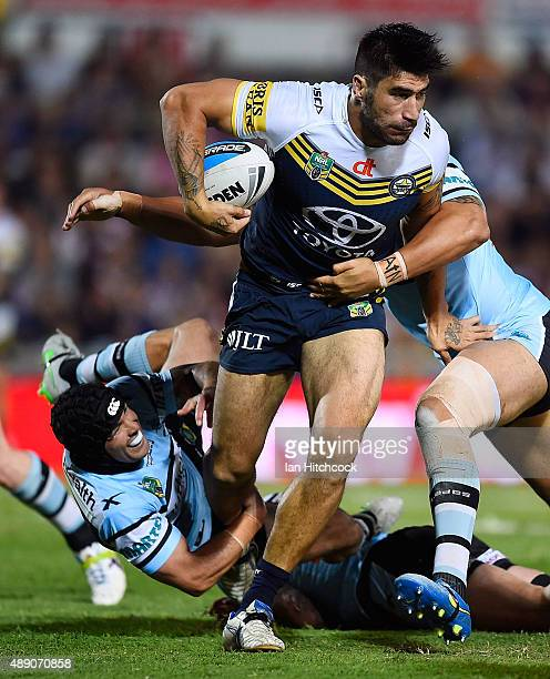 James Tamou of the Cowboys makes a break during the Second NRL Semi Final match between the North Queensland Cowboys and the Cronulla Sharks at...