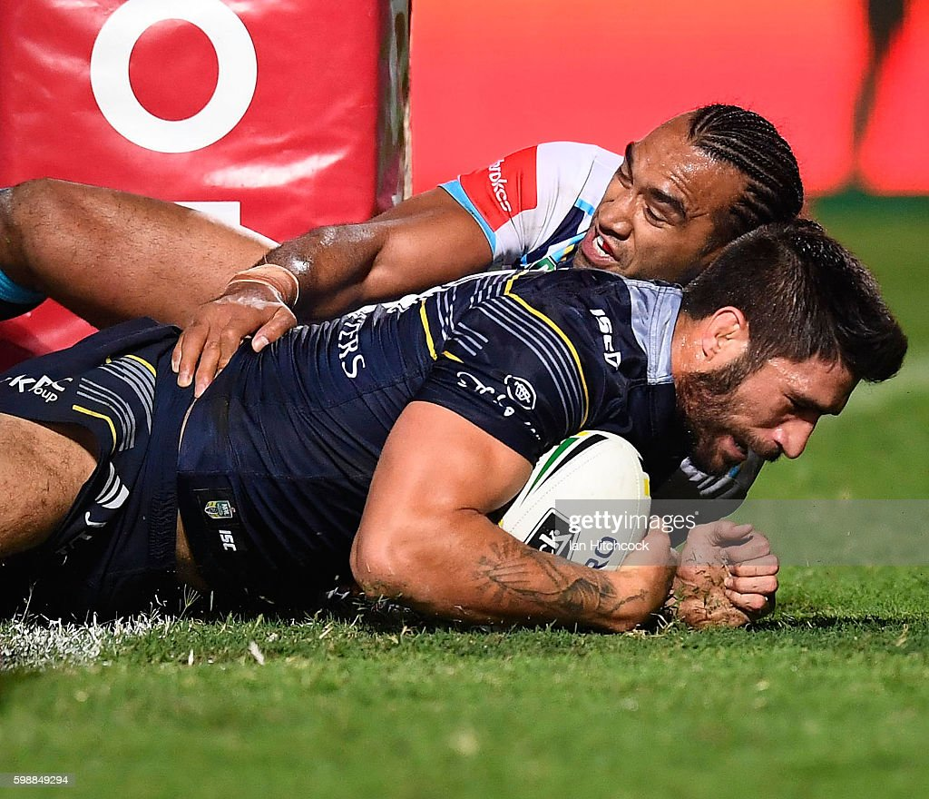 James Tamou of the Cowboys scores a try during the round 26 NRL match between the North Queensland Cowboys and the Gold Coast Titans at 1300SMILES Stadium on September 3, 2016 in Townsville, Australia.