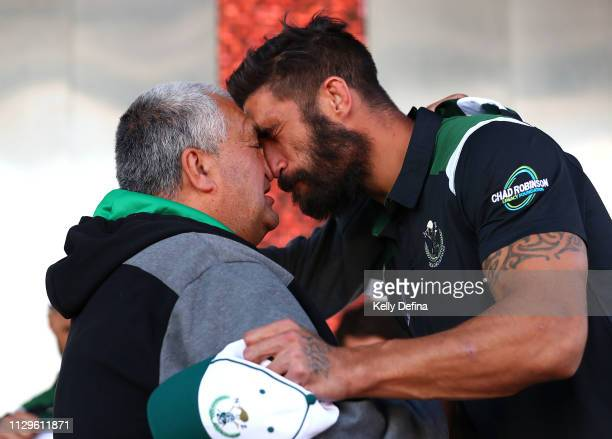 James Tamou of the New Zealand Maori All Stars is presented with his jersey during the NRL All Stars Media Opportunity at Federation Square on...