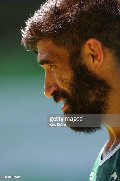 James Tamou of the New Zealand Maori All Stars looks on during the NRL All Stars Media Opportunity at AAMI Park on February 14 2019 in Melbourne...