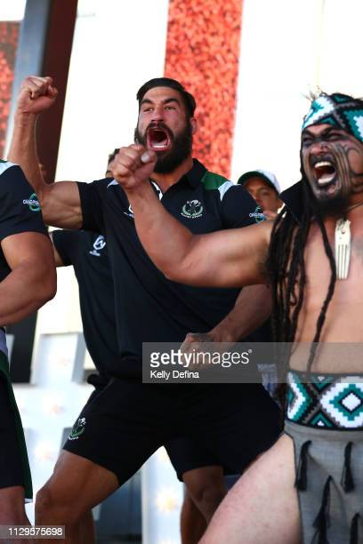 James Tamou of the New Zealand Maori All Stars performs the Haka during the NRL All Stars Media Opportunity at Federation Square on February 14 2019...