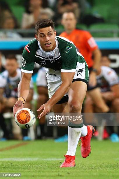 James Tamou of the New Zealand Maori Kiwis passes during the NRL exhibition match between the Indigenous All Stars and the Maori All Stars at AAMI...