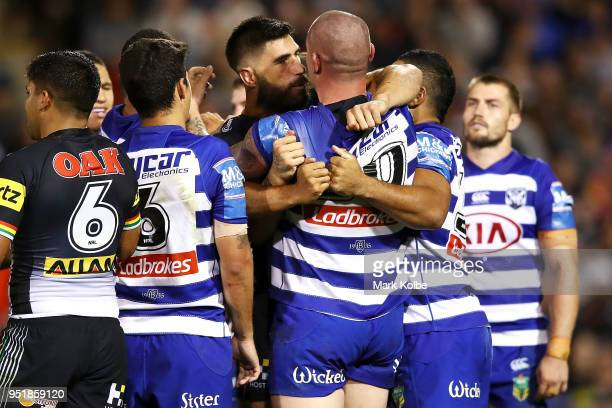 James Tamou of the Panthers and David Klemmer of the Bulldogs exchange heated words as players scuffle during the NRL round eight match between the...