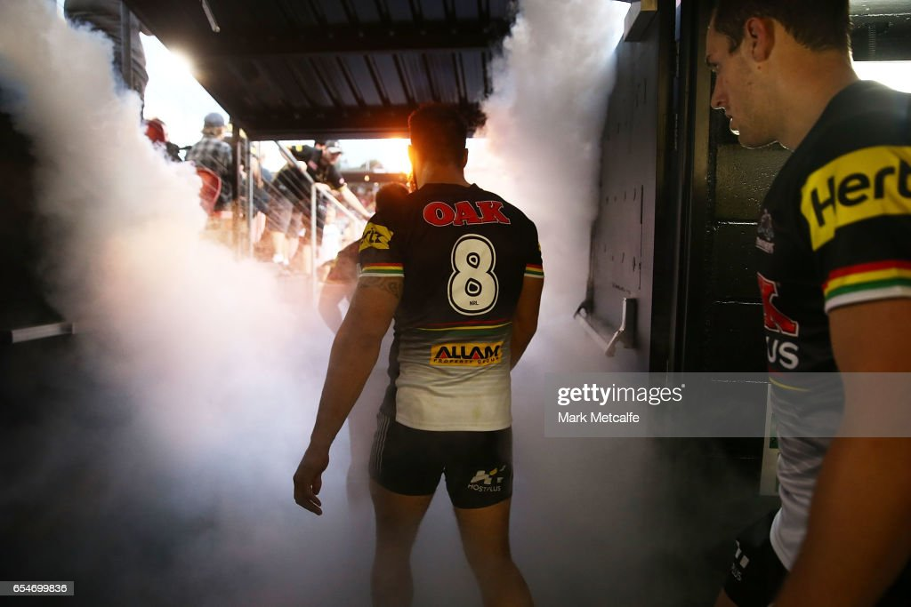 James Tamou of the Panthers and team mates walk out for the round three NRL match between the Penrith Panthers and the Sydney Roosters at Pepper Stadium on March 18, 2017 in Sydney, Australia.