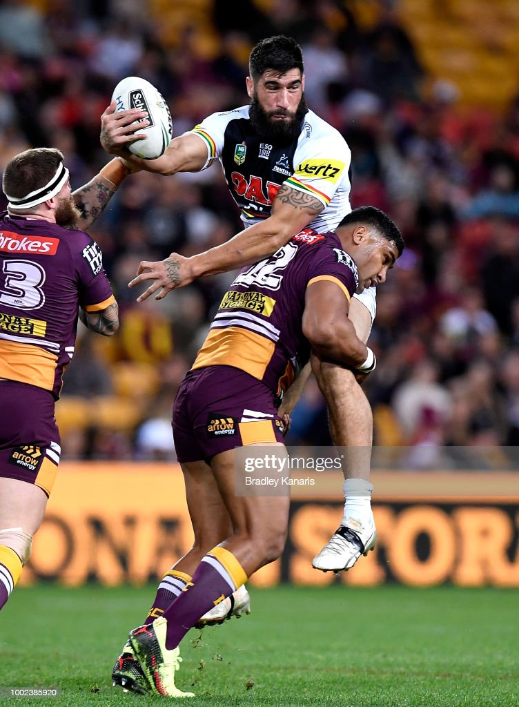 James Tamou of the Panthers is picked up in the tackle during the round 19 NRL match between the Brisbane Broncos and the Penrith Panthers at Suncorp Stadium on July 20, 2018 in Brisbane, Australia.