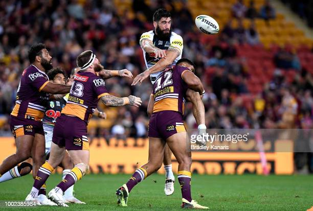 James Tamou of the Panthers is picked up in the tackle during the round 19 NRL match between the Brisbane Broncos and the Penrith Panthers at Suncorp...