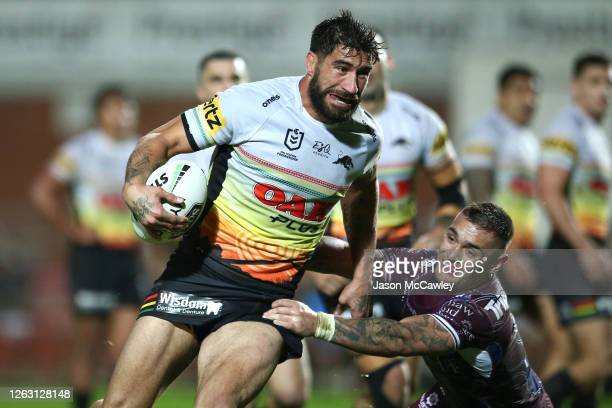 James Tamou of the Panthers is tackled by Danny Levi of the Sea Eagles during the round 12 NRL match between the Manly Sea Eagles and the Penrith...