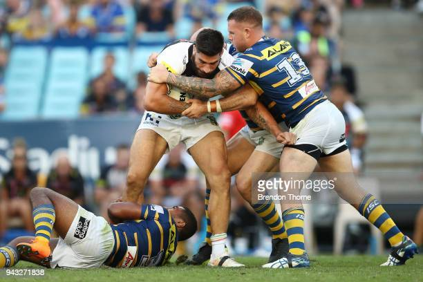 James Tamou of the Panthers is tackled by the Eels defence during the round five NRL match between the Parramatta Eels and the Penrith Panthers at...
