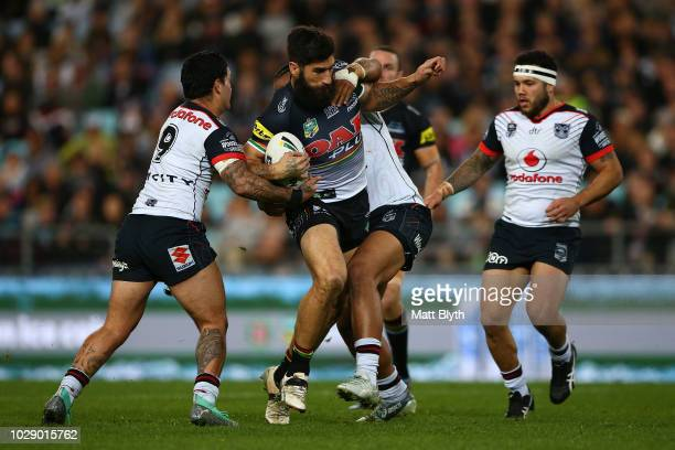 James Tamou of the Panthers is tackled during the NRL Elimination Final match between the Penrith Panthers and the New Zealand Warriors at ANZ...