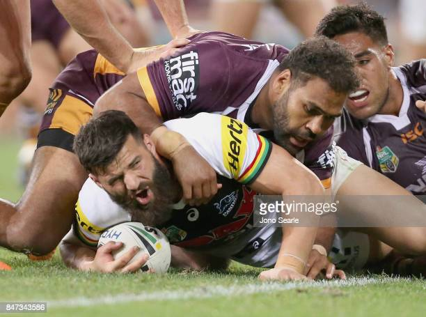 James Tamou of the Panthers is tackled during the NRL Semi Final match between the Brisbane Broncos and the Penrith Panthers at Suncorp Stadium on...