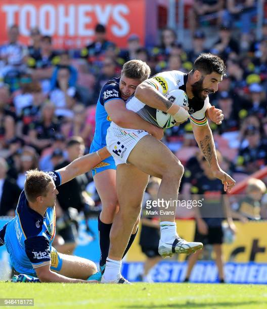 James Tamou of the Panthers is tackled during the round six NRL match between the Penrith Panthers and the Gold Coast Titans on April 15 2018 in...