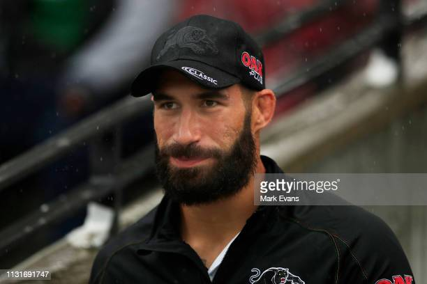 James Tamou of the Panthers looks on during the NRL trial match between the South Sydney Rabbitohs and the Penrith Panthers at Redfern Oval on...