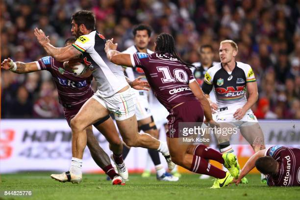 James Tamou of the Panthers makes a break during the NRL Elimination Final match between the Manly Sea Eagles and the Penrith Panthers at Allianz...