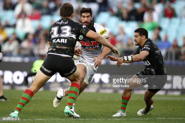 James Tamou of the Panthers runs the ball during the round 17 NRL match between the South Sydney Rabbitohs and the Penrith Panthers at ANZ Stadium on...