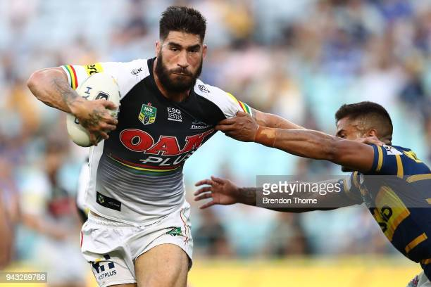 James Tamou of the Panthers runs the ball during the round five NRL match between the Parramatta Eels and the Penrith Panthers at ANZ Stadium on...