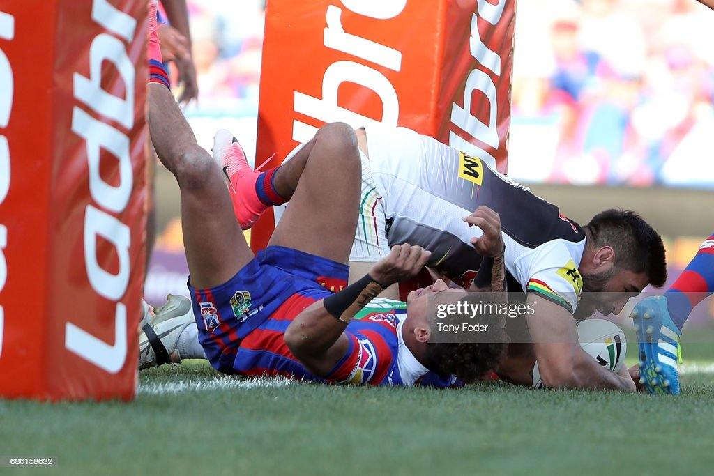 James Tamou of the Panthers scores a try during the round 11 NRL match between the Newcastle Knights and the Penrith Panthers at McDonald Jones Stadium on May 21, 2017 in Newcastle, Australia.