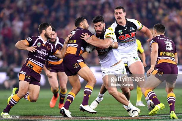 James Tamou of the Panthers takes on the defence during the NRL Semi Final match between the Brisbane Broncos and the Penrith Panthers at Suncorp...