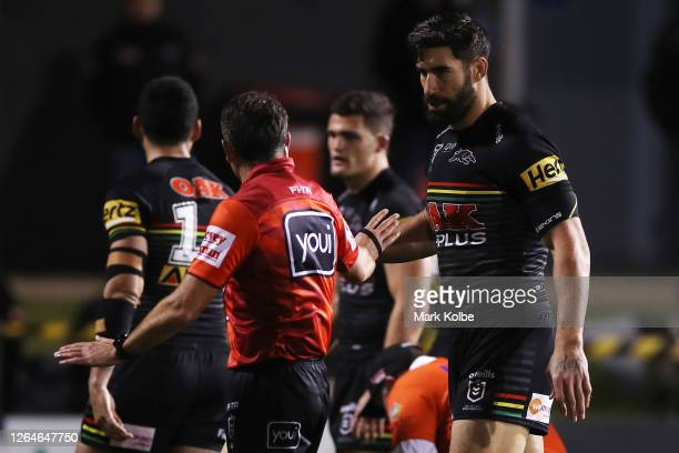 James Tamou of the Panthers talks to referee Gerard Sutton during the round 13 NRL match between the Penrith Panthers and the Canberra Raiders at...