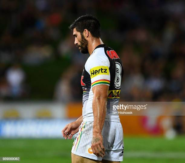 James Tamou of the Panthers walks from the field after being given 10 minutes in the sin bin during the round four NRL match between the North...