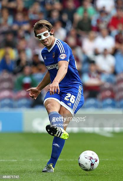 James Tarkowski of Brentford during the Sky Bet Championship match between Burnley and Brentford at Turf Moor on August 22 2015 in Burnley England