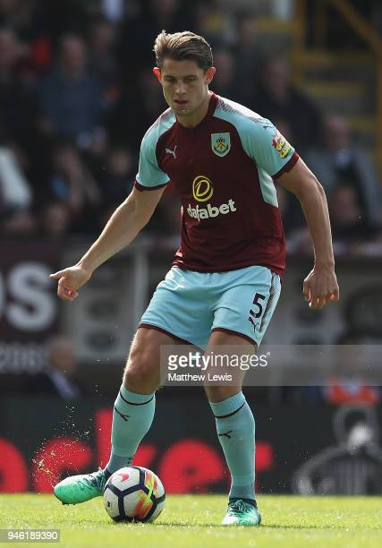 James Tarkowski of Burney in action during the Premier League match between Burnley and Leicester City at Turf Moor on April 14 2018 in Burnley...