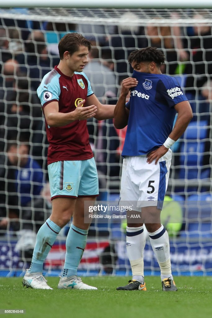 James Tarkowski of Burnley and Ashley Williams of Everton at full time during the Premier League match between Everton and Burnley at Goodison Park on October 1, 2017 in Liverpool, England.