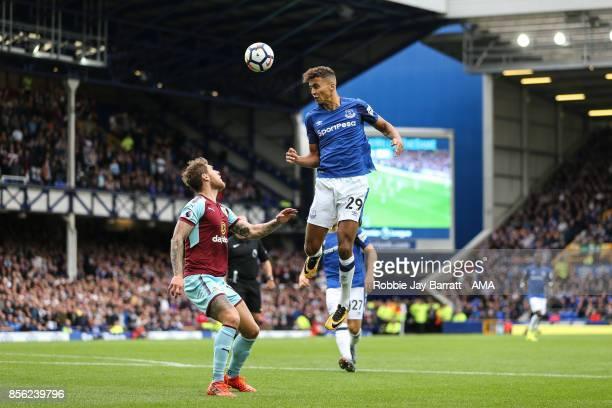James Tarkowski of Burnley and Dominic CalvertLewin of Everton during the Premier League match between Everton and Burnley at Goodison Park on...