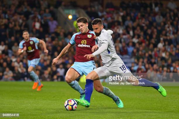 James Tarkowski of Burnley and Olivier Giroud of Chelsea during the Premier League match between Burnley and Chelsea at Turf Moor on April 19 2018 in...