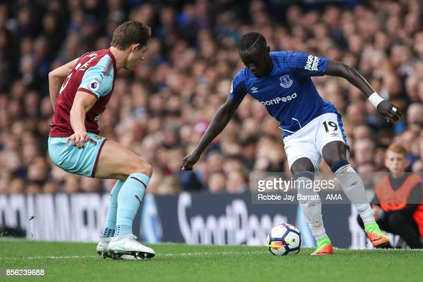 James Tarkowski of Burnley and Omar Niasse of Everton during the Premier League match between Everton and Burnley at Goodison Park on October 1 2017...