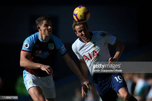 James Tarkowski of Burnley battles with Harry Kane of Spurs during the Premier League match between Burnley and Tottenham Hotspur at Turf Moor on...