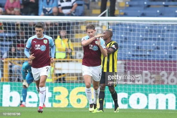 James Tarkowski of Burnley celebrates after scoring a goal to make it 11 during the Premier League match between Burnley FC and Watford FC at Turf...