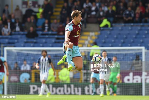 James Tarkowski of Burnley controls the ball during the Premier League match between Burnley and West Bromwich Albion at Turf Moor on August 19 2017...