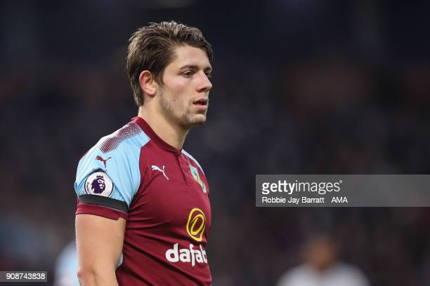 James Tarkowski of Burnley during the Premier League match between Burnley and Manchester United at Turf Moor on January 20 2018 in Burnley England